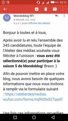 Email reçu après sélection au Concours Mondoblog